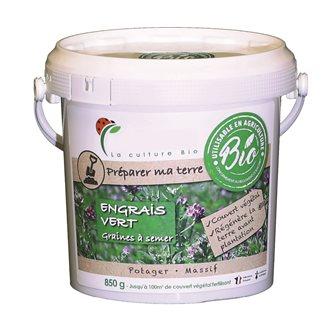 Engrais vert à semer à base de pois et sarrasin pour nettoyer le terrain et fixer l´azote sur 100 m²